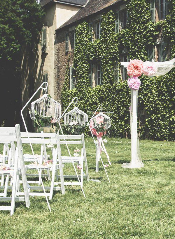 cage blanche sur pied location mariage finistère